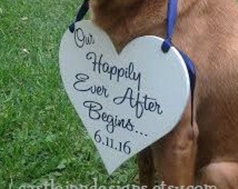 Our Happily Ever After Begins Dog Heart Sign   Engagement Photo Prop Dog Sign   Dog Save the Date Sign   Save Our Date  