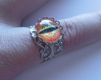 DRAGON EYE silver filigree ADJUSTABLE cabochon ring
