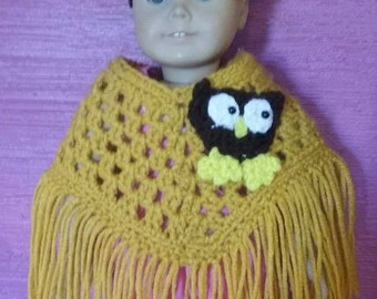 "Handmade 18"" doll poncho for dolls like the American girls"