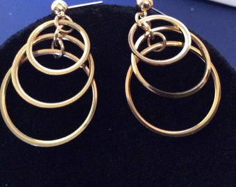 Gold toned earrings 2 in