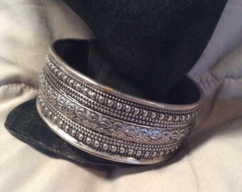 Silver tone cuff bracelet one size fits all
