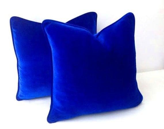 Royal blue throw velvet pillow cover cobalt blue cushion for Royal blue couch pillows