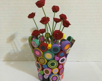3D Paper Quilled Multi Colored Circle Rose Vase