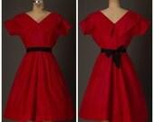 SALE 1950s Russian Red Taffeta Dress