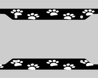 Pet Paw Print / Black and White / License Plate Frame