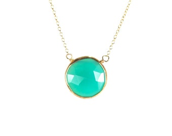 Chalcedony necklace - mint chalcedony - green chalcedony - crystal necklace - a gold bezel set mint chalcedony on a 14k gold vermeil chain