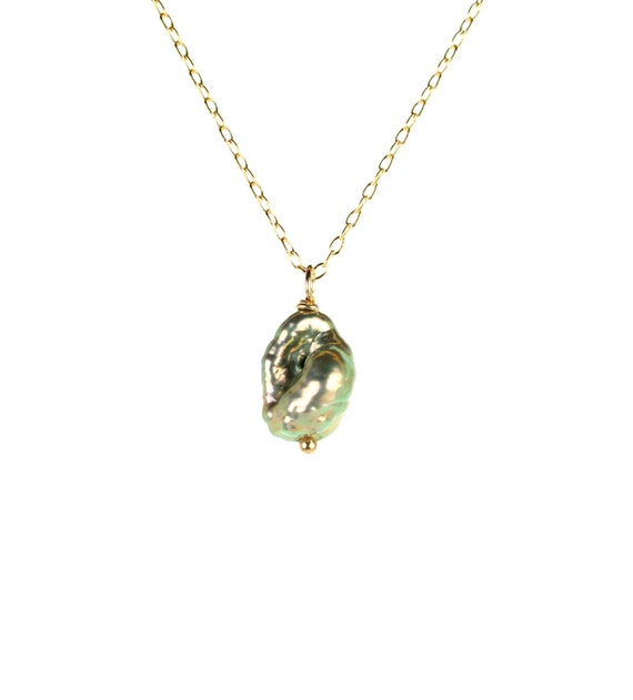 Pearl necklace - grey pearl necklace - freshwater pearl - a gray rainbow pearl wir wrapped onto a 14k gold vermeil chain