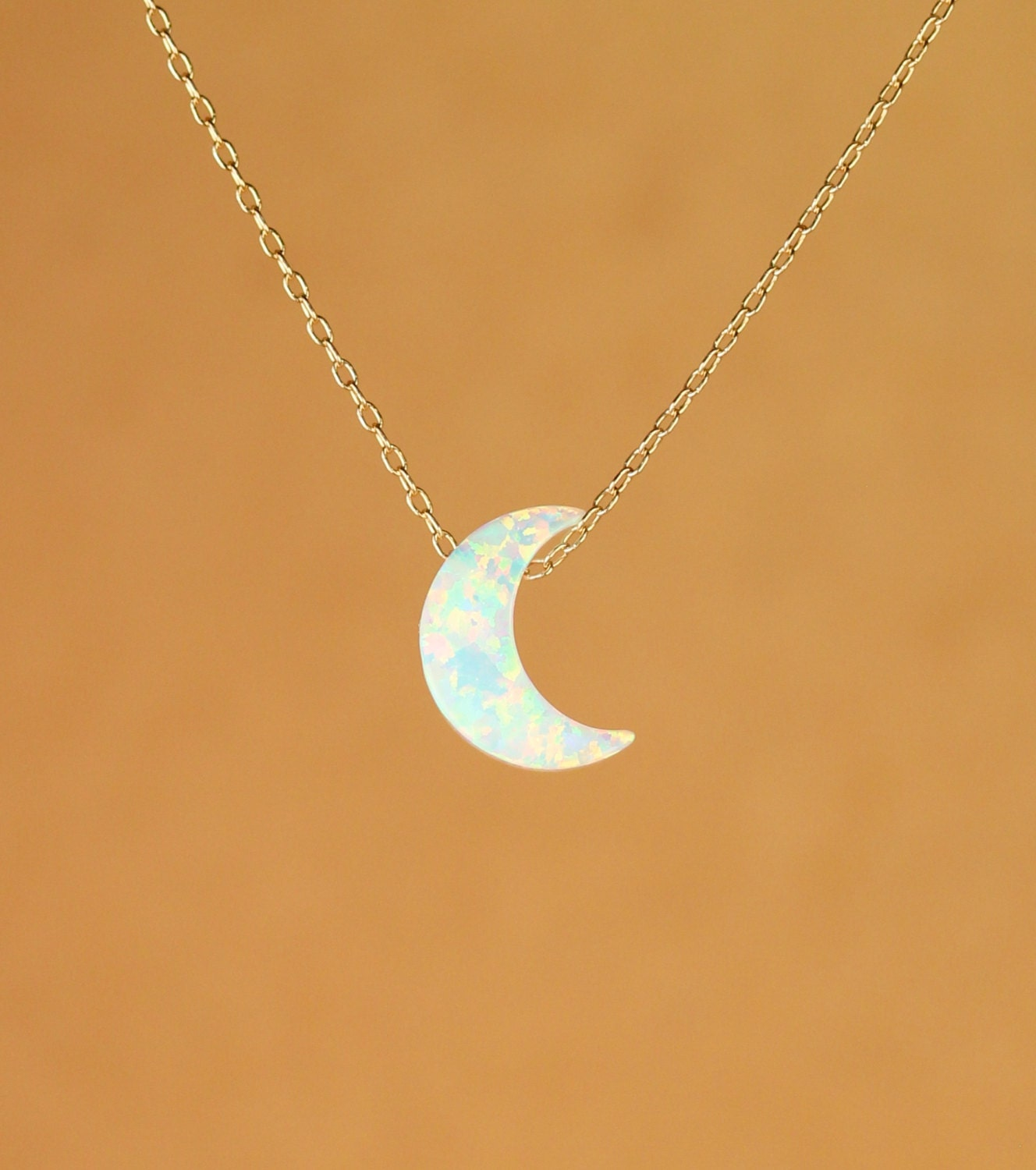 moon necklace opal moon necklace crescent moon necklace