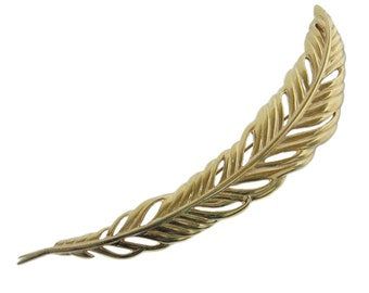 """Monet Feather Brooch 5.25"""" long!  Gold Feather Brooch Vintage Monet Brooch Statement Brooch Feather Pin Feather Jewelry Nature Brooch"""