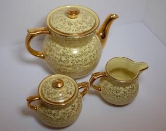 Vintage Yellow  Earthenware Teapot, Yellow Tea Set Gold American Teapot, Cream and Sugar Set, Tea Set Ceramic Teapot