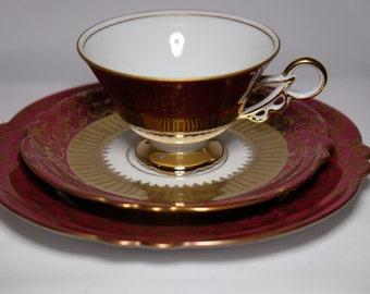 Vintage Tea Cup Trio, Porcelain Tea Cup JL Menau Graf Von Henneberg Porzellan China Tea Cup, Tea Trio Set, Wedding, Bridal Tea Party Table