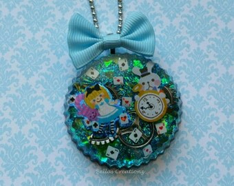 Alice & The White Rabbit Resin Necklace