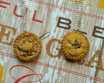 Autumn Apple Pie Necklace, Miniature food jewelry