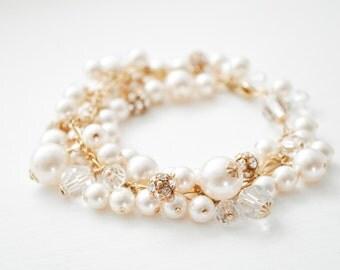 14kt Gold-Fill Bracelet, Ivory Pearl Bridal Bracelet, Gold Ivory Pearl Bracelet, Gold Jewelry