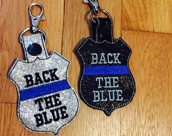 Back the blue key fobs - we got your six - support local police  - gift for officer  -  blue lives matter - thin blue line- blue lives