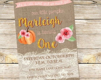 Our Little Pumpkin Birthday Invitation with a touch of Burlap & Lace