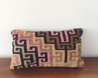 Vintage Kilim Throw Pillow . Bohemian Pillow . Bedroom . Lumbar Pillow