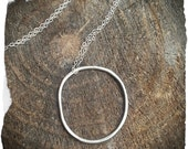 Organic Eternity Circle Necklace with Sterling Silver Chain