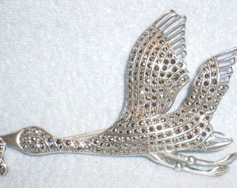 Antique Marcasite 925 Sterling Bird in Flight with Snake in Mouth Pin Brooch