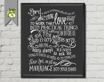 Marriage Prayer, Bible Scripture, Bible Verse, black and white, chalkboard, Typographic, instant Download, DIY printable,  wedding prayer.