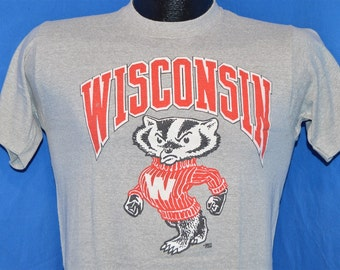 80s Wisconsin University Bucky Badger College Football Gray Vintage t-shirt Small