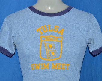 70s Tulsa Swim Meet Blue Ringer t-shirt Youth Large