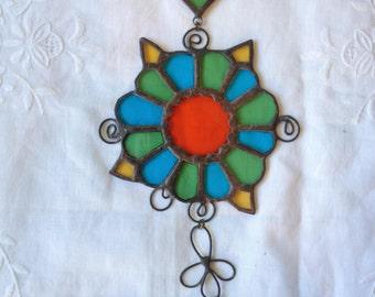 HANDMADE MANDALA Green,Light Blue,Orange,Yellow Color with Filigree.Ethnic Stained Glass,Wall Hanging,Tiffany art, Original design by PAULA.