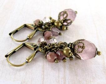 Dusty Pink Cluster Earrings - Czech Glass Bead Jewelry Victorian Vintage Style Pink Brass Jewelry - Antique Gold Brass Bronze Earrings