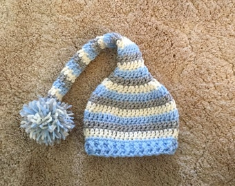 Crocheted Striped Pixie Hat