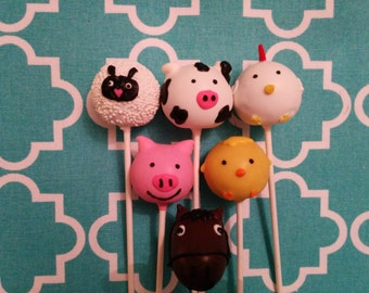 Farm Animals Cake Pops, Farm Cake Pops, Barn Animal Cake Pops, Farm Animal Cake Pops