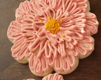 Flower Sugar Cookies, Pink Flower Sugar Cookies, Shabby Chic Sugar Cookies, Tea Party Sugar Cookies