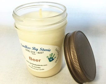 Beer Soy Candle - 8 oz All-Natural Soy Beer Candle - Mancave Candle - Manly Candle - Eco-Friendly Candle - Soy Wax Candle