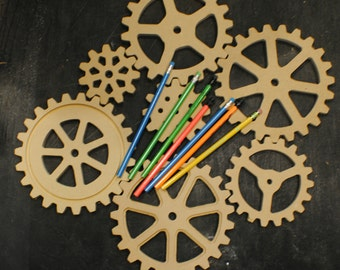 Seven (7) Large Wooden Gears -Wood Gears - Cogs - Sprocket - Pulleys -  Industrial Decor -  Steampunk decor