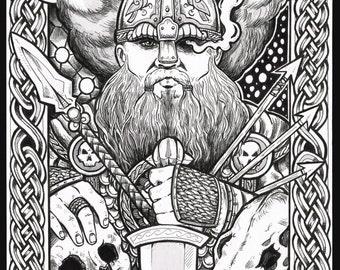 Odin viking fantasy  art print