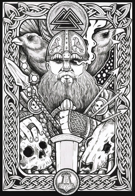 Norse Art Viking art Odin fantas...