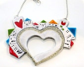 Ceramic houses statement necklace, contemporary jewelry for women Unique handmade nacklace Heart village, Adorable gift N. 4