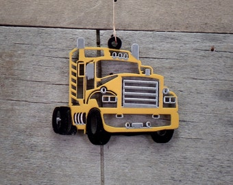 Yellow Semi Truck Christmas Ornament
