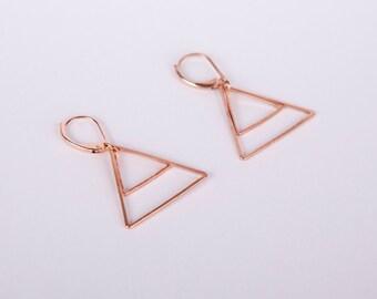 Rose Gold Triangle Minimal Pendant Earrings Dangly Earrings Rose Golden