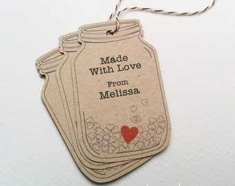 Customized Mason Jar tags - Made With Love tags - Homemade Jam labels - Tags for Jellies - Brown kraft mason jar tags (TM-12k)