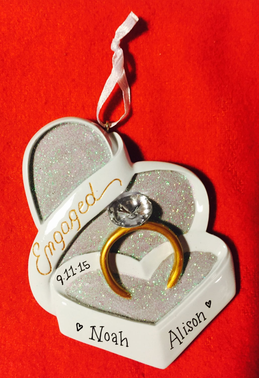 Engagement ring in heart shaped box personalized christmas for Heart shaped engagement ring box