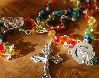 Mother of Dolorosa Catholic Rosary.  Handmade. Crystal Rosary. Rainbow Rosary. Catholic Jewellery.