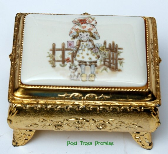 vintage holly hobbie golden and enamel jewelry box with hinged