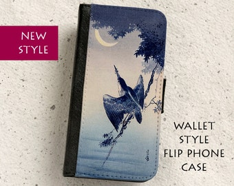 iPhone Case (all models) - Japanese Woodblock Illustration - Kingfisher - Wallet flip case - SamsungGalaxy S4,S5,S6,S7,S8,S8Plus,Note4,5
