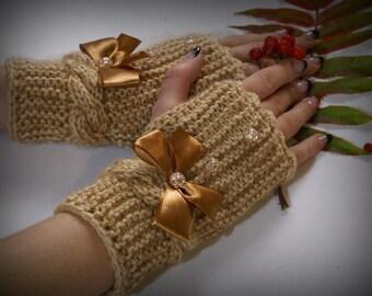 Beige Knit Gloves Fingerless Bridal Mittens Brown Knit Arm Warmers Beige Wedding Winter Gloves Bridesmaid Wrist Warmers