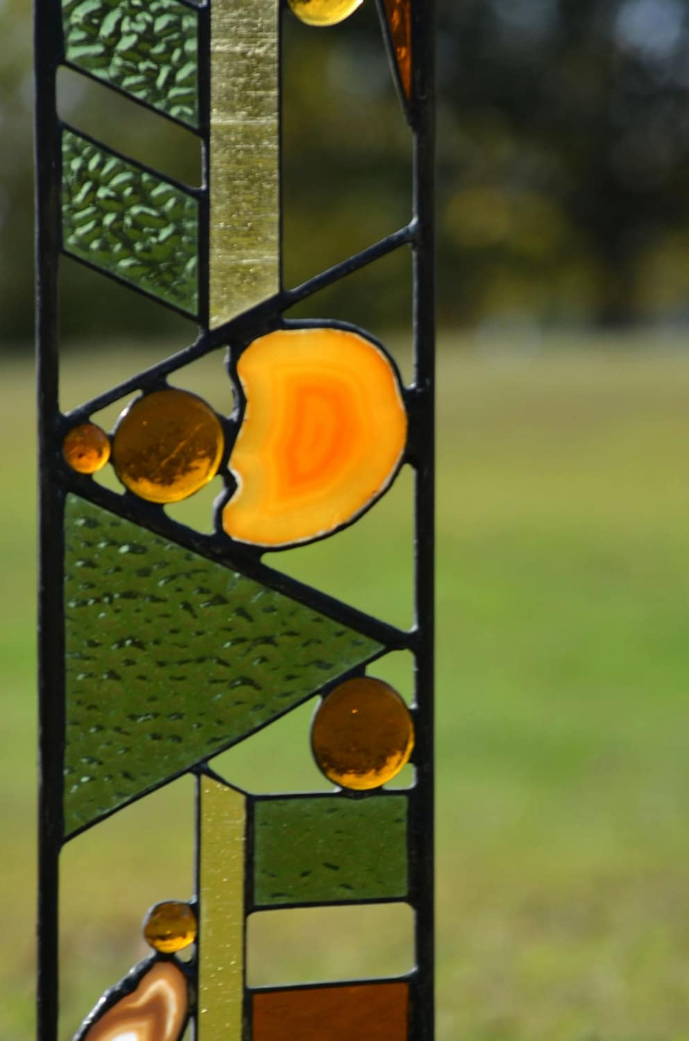 Large stained glass garden decoration arts and crafts for Arts and crafts glass