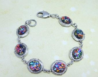 Black Fire Opal Bracelet Black Opal Bracelet Rhinestone Tennis Bracelet Silver Bracelet Fantasy Mystical Jewelry Gift