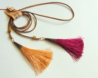 Long Tassels Necklace on Leather Cord,