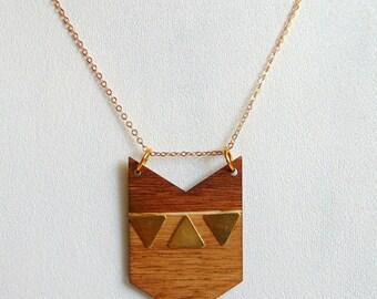 Chevron Necklace, Wood Geometric Necklace,Geometric Jewelry