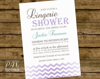 Printable Lingerie Shower Invitation - Ombre Chevron Lingerie Shower, Bridal Shower, Wedding Shower, Couples Shower
