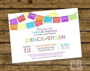 Fiesta Couples Shower Invitation - Printable Couples shower Mexican Fiesta Invitations - Couples shower, Wedding Shower, ANY EVENT